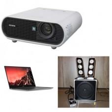Beamer + geluidsinstallatie + laptop